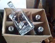6 dekorative Glasflaschen leer Schnaps