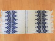Tischläufer Deckchen weiß blau mit