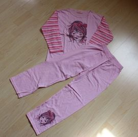 Mädchen Schlafanzug Kinder Pyjama Set lang 2tlg. Nachtwäsche Girl Hausanzug rosa/pink 116 NEU
