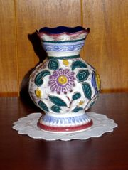 Blumenumrankte Majolika Keramik Vase Scheurich