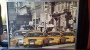 Farb-Foto NEW-YORK-Taxis Alu-Rahmen neuw 118x85