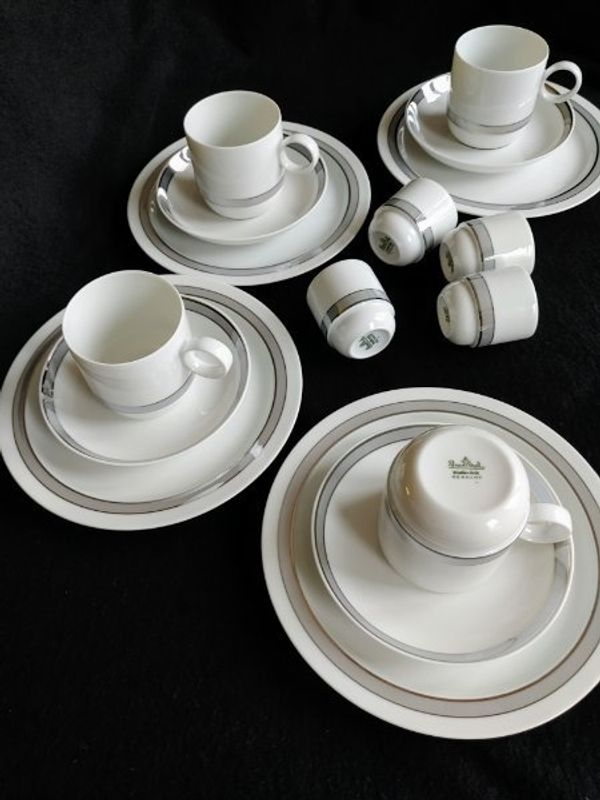 Rosenthal Duo Poetic Kaffeeservice + Eierbecher 4 Pers. Platinrand Ambrogio Pozzi studio-linie 80s