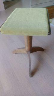 Klavierhocker höhenverstellbar Holz grüner Samt
