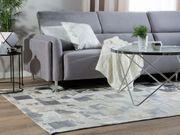 Teppich Leder beige silbern 160