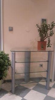 Glas Regal Phontisch TV Tisch