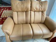 2-Sitzer Couch Echtleder Farbe Cognac