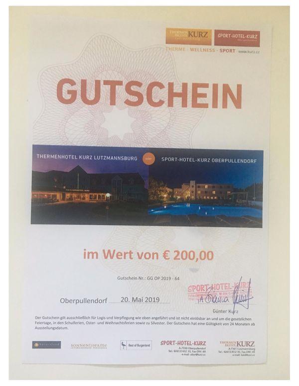 Verkaufe Hotelgutschein Thermenhotel Kurz Burgenland