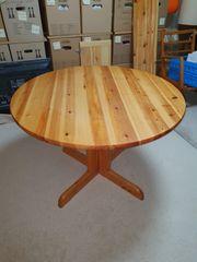Runder Voll-Holz-Tisch Kiefer ausziehbar