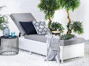 Gartenliege Rattan weiß Auflage grau