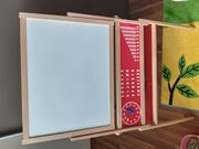 Holzmagnettafel mit 108 ABC-Magnete