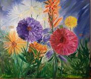 Ölgemälde 90x100 cm Blumen Impressionismus