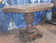 echt alter achteckiger Holztisch Eiche