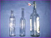 3x klare Glasflaschen lebensmitteltauglich