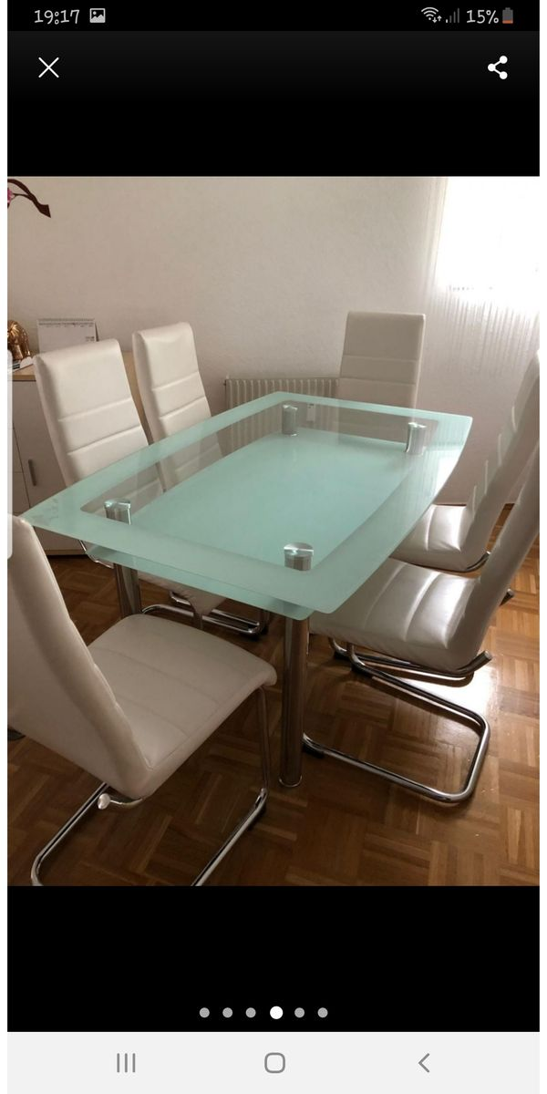 Glass Esstisch mit 6 Stühlen