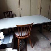 Schreibtisch Homeoffice stabiler Tisch hellgrau