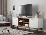 TV-Möbel weiß dunkler Holzfarbton rechteckig