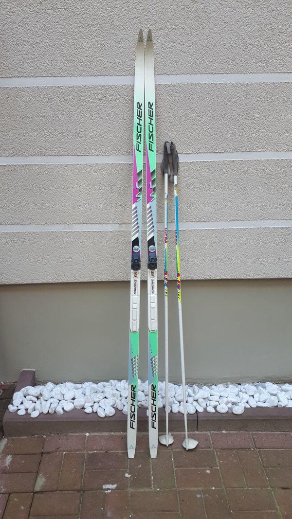 Fischer Langlaufski mit Stöcken, 2 Paar, 200cm / 205cm, mit Salomon Bindungen