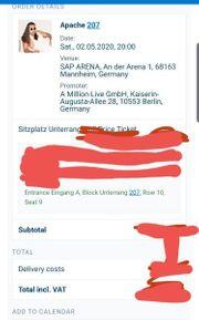 Apache 207 SAP Mannheim Ticket