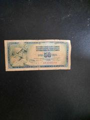 Jugoslavija 50 Dinara Geldschein Gebrauchsspuren