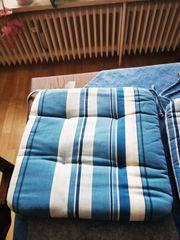 8 x Stuhlkissen blau-weiß-gestreift gebraucht