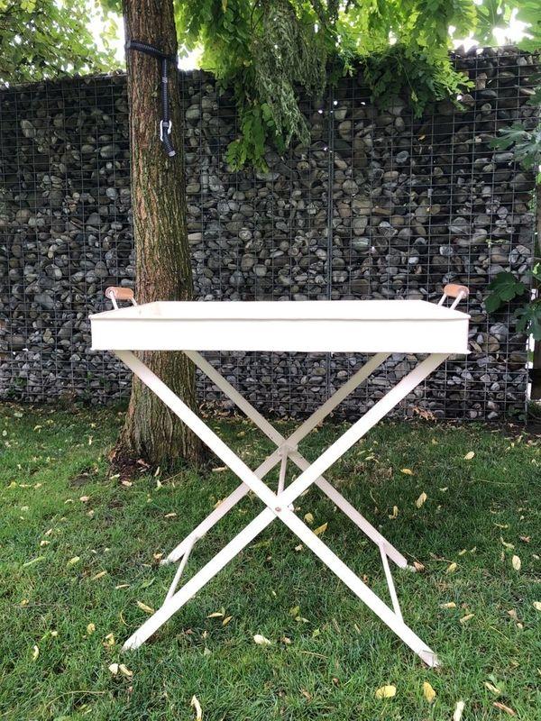 Gartentisch Metall Weiss Emaille Beistelltisch F Innen