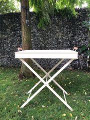 Gartentisch Metall weiss Emaille Beistelltisch