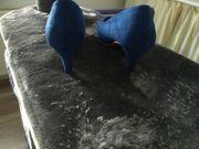 Heels Pumps blau Sandalette schwarz