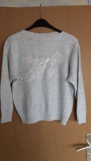 Pullover weiß mit Pailletten Größe