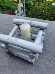 Kerzenständer aus Holz Weiß Lasiert