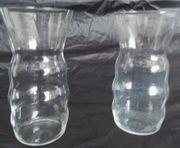 2 Glas Tischvasen Klarglas ca