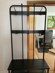 Ikea Garderobenständer mit Bank schwarz193x37x90