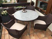 Tisch Terrassentisch mit Granitplatte 100cm