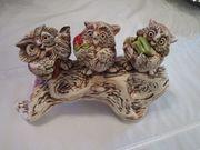Eulentrio aus Keramik auf einen