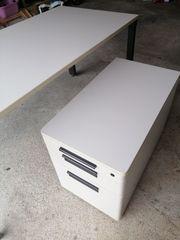 gr Schreibtisch mit Rollcontainer