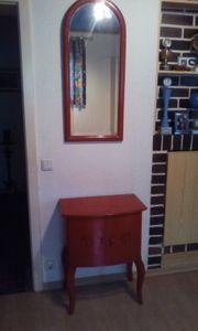 Holzkastl rot mit Spiegel