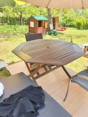 Holz Gartentisch rund 120xH74cmGut erhaltener