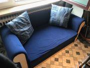 Sofa Couch Schlafsofa Schlaffunktion blau