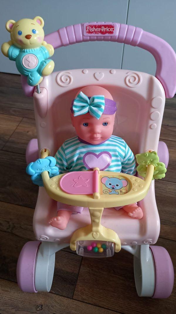 Mattel Fisher-Price Puppenwagen rosa Lauflernwagen