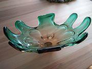 Glasschale Obst-Servierschale groß grün-orange-blau schimmernd