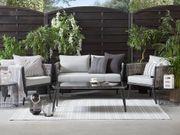 Gartenmöbel Set Rattan grau schwarz