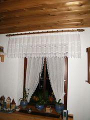 Vorhang creme-farbig rustikal
