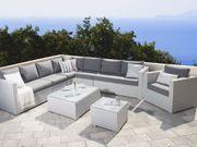 Lounge Set Rattan weiß 8-Sitzer