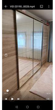 500VB Holz Kleiderschrank mit Spiegel
