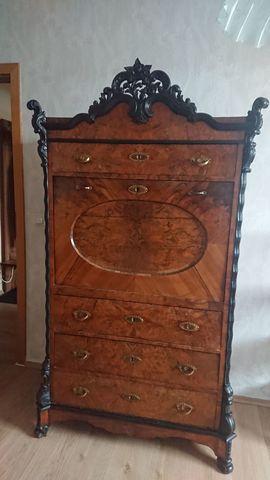 Sekretär Mitte 19. Jahrhundert Antiquität exklusiv Wurzelholz