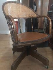 Vintage Schreibtisch Stuhl Holz Drehbar