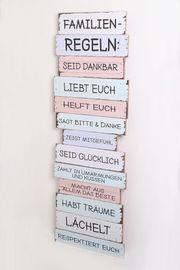 NEU WanddekorationFamilien-Regeln Vintage Schild Deco-Panel