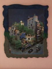 Bild Hundertwasserhaus in Unikat-Rahmen