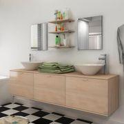 8-tlg Badmöbel und Waschbecken Set Beige