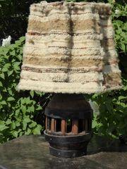 antike Rad-Naben-Lampe mit handgewebtem Schirm