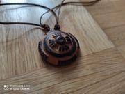 Ethno Holzschmuck Halskette mit Anhänger